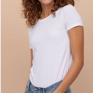 H&M White Basic Cotton Crew Neck T-Shirt NWOT